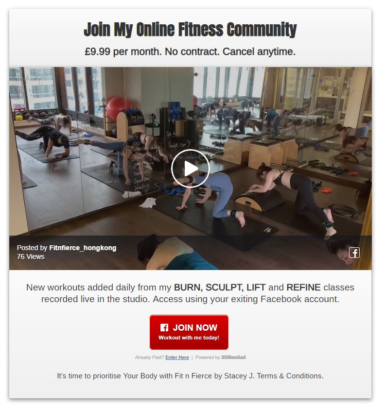 Gateway to online fitness community