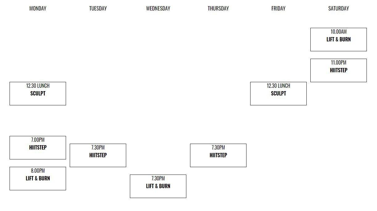 class schedule for Fit n Fierce Hong Kong